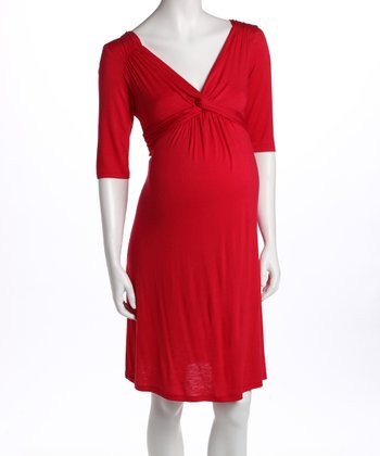 Red Knot-Front Three-Quarter Sleeve Maternity Dress