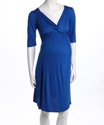 Royal Blue Knot-Front Three-Quarter Sleeve Maternity Dress