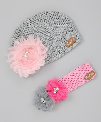 Pink & Gray Flower Beanie & Headband