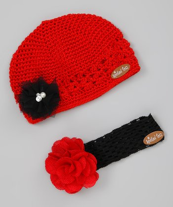 Red & Black Flower Beanie & Headband