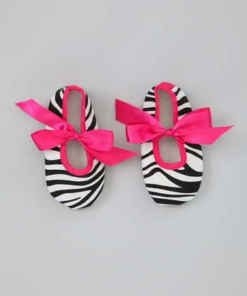 Hot Pink Zebra Ribbon Shoe