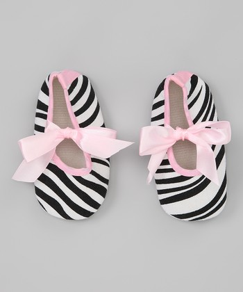 Light Pink Zebra Ribbon Shoe