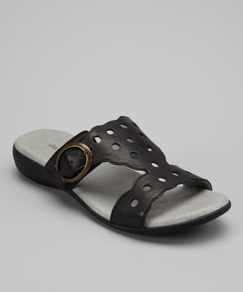 Black Leather Airy Slide