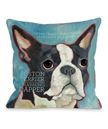 Blue Boston Terrier Throw Pillow