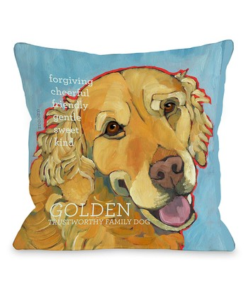 Light Blue 'Golden Retriever' Throw Pillow