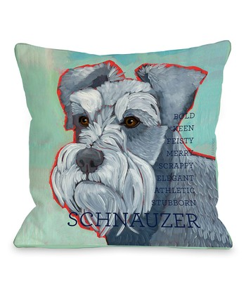 Blue Schnauzer Throw Pillow