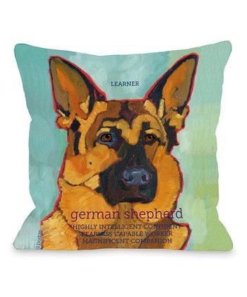 Turquoise German Shepherd Throw Pillow