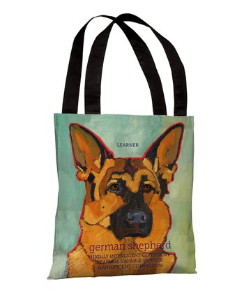 Teal & Brown 'German Shepherd' Tote