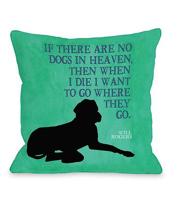 Green 'Heaven' Silhouette Throw Pillow