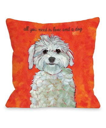 Orange 'Love and a Dog' Throw Pillow