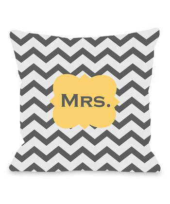 Mimosa & Gray 'Mrs.' Chevron Pillow