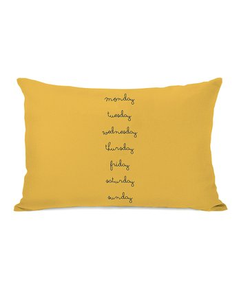 Yellow Days of the Week Bolster Pillow