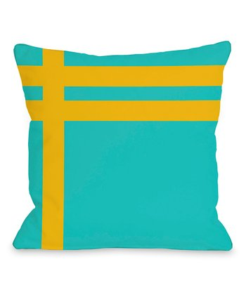 Turquoise & Yellow Nautical Stripe Indoor/Outdoor Pillow