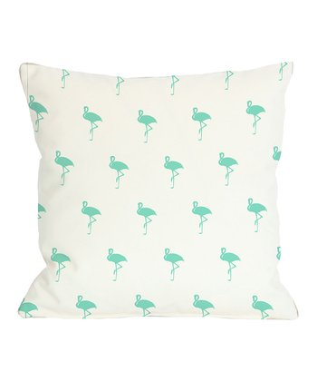 Aqua All Over Flamingo Pillow