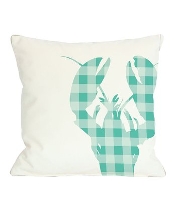 Aqua Plaid Lobster Pillow