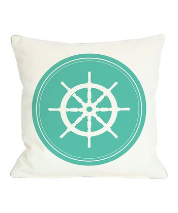 Aqua Polka Dot & Wheel Pillow