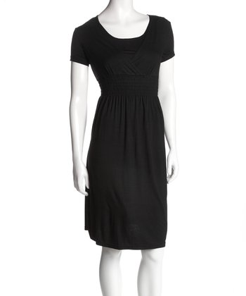 Black Surplice Nursing Dress