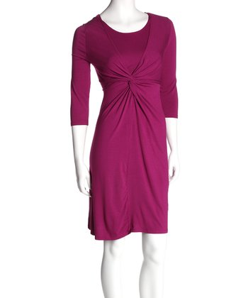 Boysenberry Twist Front Nursing Dress