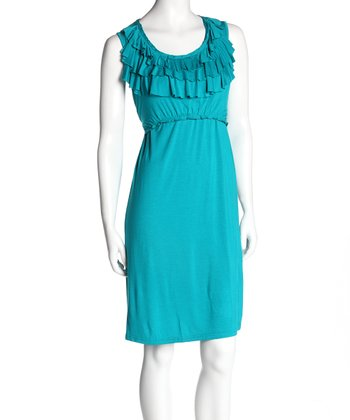 Teal Ruffle Nursing Dress