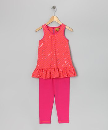 Orange Sequin Stripe Tunic & Leggings - Infant, Toddler & Girls