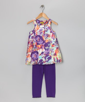 Purple Petunia Floral Tunic & Leggings - Infant & Toddler