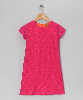 Fuchsia & Orange Lace Dress - Girls