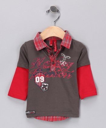Dark Gull Gray Layered Polo - Infant & Toddler