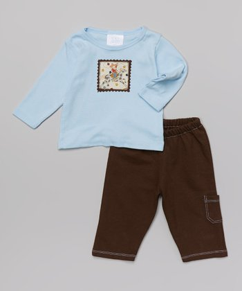 Blue & Brown Cowby Long-Sleeve Top & Pants - Infant