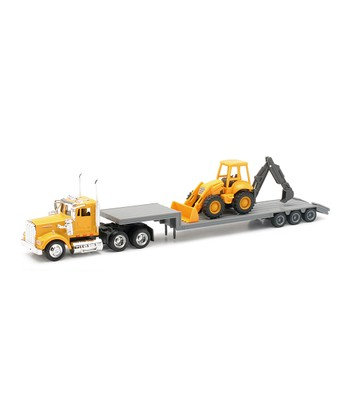 Kenworth Lowboy Trailer & Backhoe Loader Set