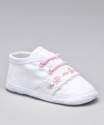 White Floral Twill Crib Shoe