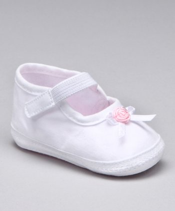 White Rosette Mary Jane Crib Shoe
