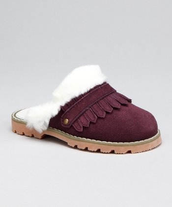 Wine Leather Fringe Clog - Kids