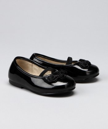 Black Flower Patent Flat