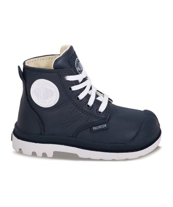 Indigo & White Leather Pampa Hi-Top Sneaker