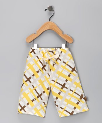 Yellow Plaid Linen Pants