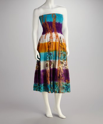Brown & Purple Tie-Dye Dress