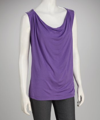 Focus 2000 Purple Studded Drape Top
