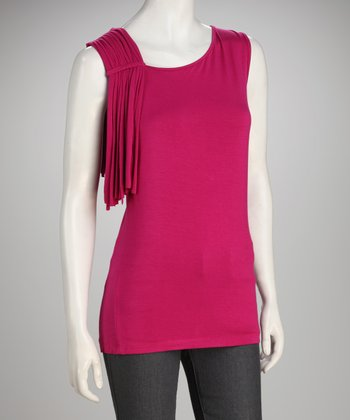 Focus 2000 Pink Fringe Sleeveless Top