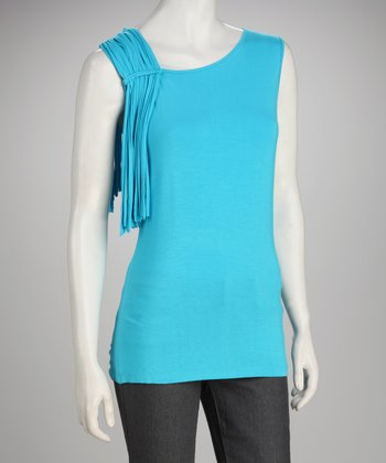 Focus 2000 Turquoise Fringe Sleeveless Top