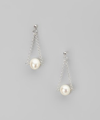 White Pearl Swing Earrings