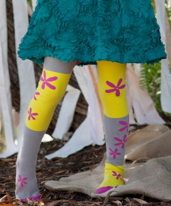 Yellow & Pink Flower Organic Tights