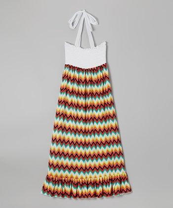 Lori & Jane White & Orange Zigzag Maxi Dress