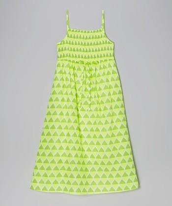 Apollo Lime Teardrop Shirred Maxi Dress