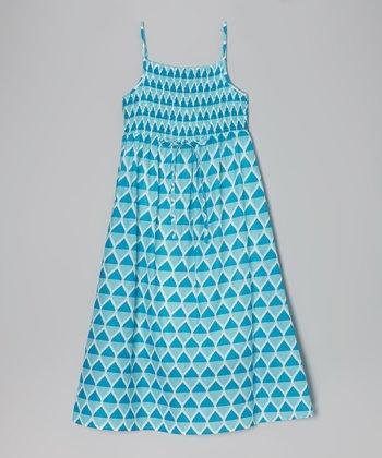 Apollo Turquoise Teardrop Shirred Maxi Dress