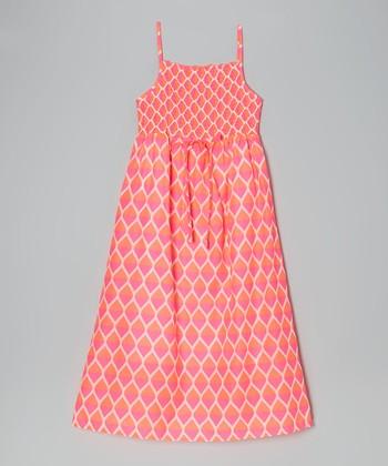 Apollo Pink Teardrop Shirred Maxi Dress