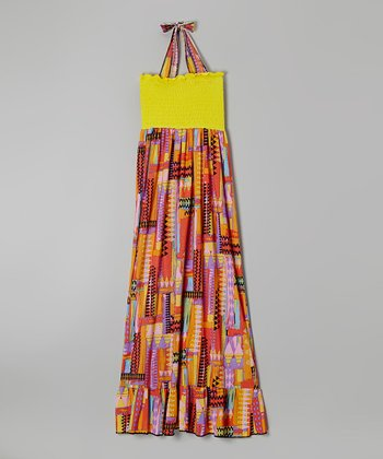Rated G Yellow & Red Geometric Maxi Dress