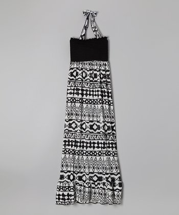 Rated G Black & White Wide Tribal Maxi Dress