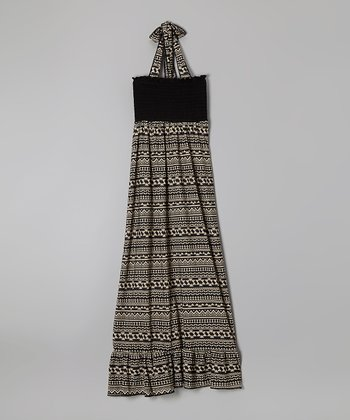 Rated G Black & Taupe Tribal Maxi Dress