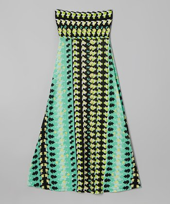Rated G Green & Yellow Movement Maxi Skirt