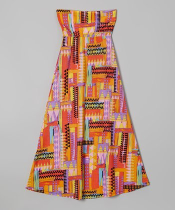 Rated G Yellow & Red Geometric Maxi Skirt